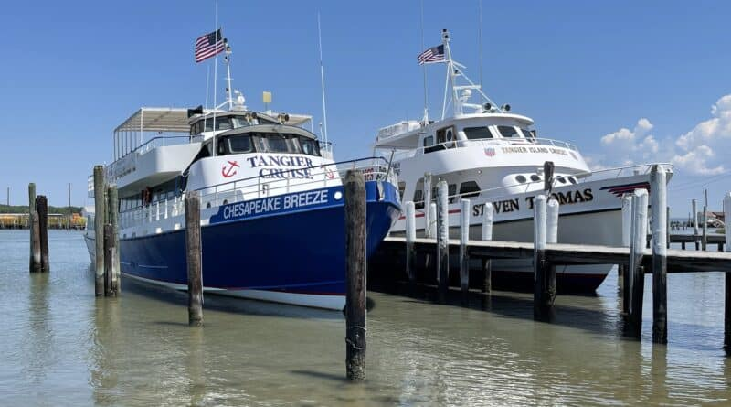 Ferries docked at Tangier Island