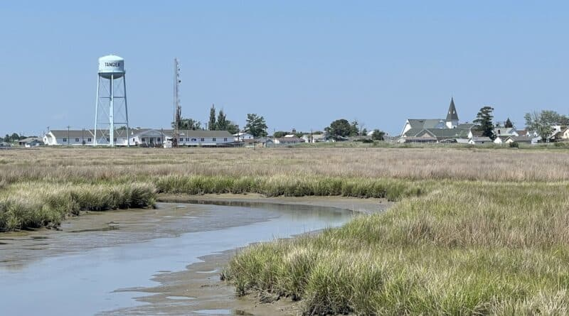 Tangier Island marsh with water tower
